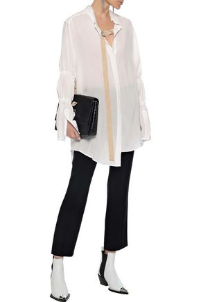ANN DEMEULEMEESTER Ruched bow-detailed voile shirt