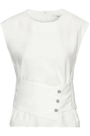 TIBI Cropped snap-detailed twill top