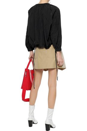 TIBI Bow-detailed shirred shell blouse