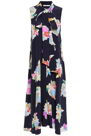TIBI Pussy-bow printed silk crepe de chine midi dress