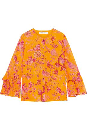 CAROLINA HERRERA Tiered floral-print silk-georgette blouse
