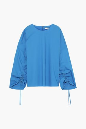 TIBI | Tibi Ruched Cotton-Poplin Blouse | Goxip