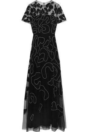 CAROLINA HERRERA Appliquéd tulle gown
