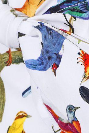 CAROLINA HERRERA Bow-embellished printed stretch-cotton poplin midi dress