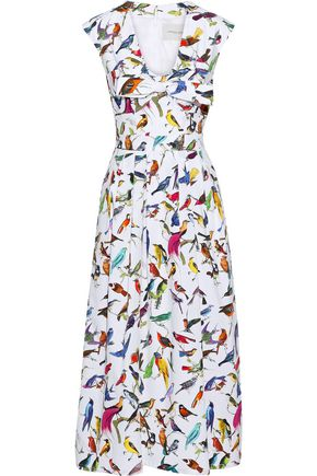CAROLINA HERRERA Bow-embellished printed stretch-cotton poplin midi dress