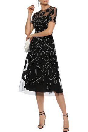 CAROLINA HERRERA Leopard-print appliquéd tulle dress