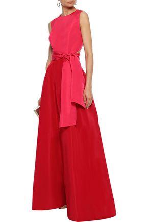 19a13ec398 CAROLINA HERRERA Belted cutout two-tone silk-faille gown