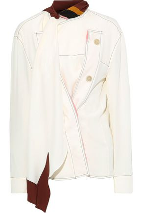 MARNI Tie-neck button-detailed crepe de chine blouse