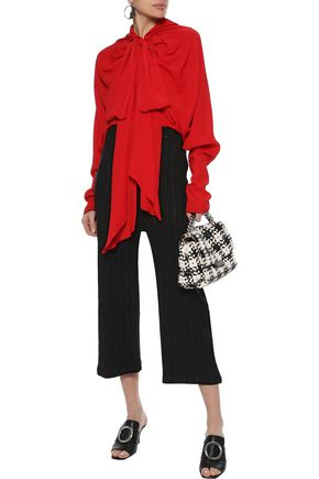 MARNI Pussy-bow gathered crepe de chine blouse