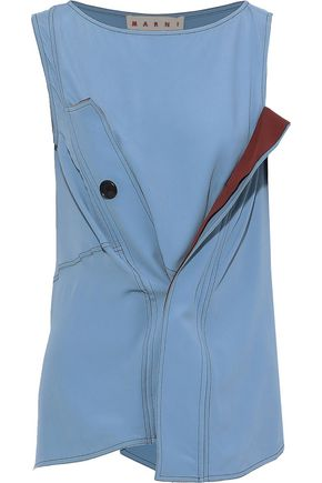 MARNI Draped button-detailed crepe de chine top