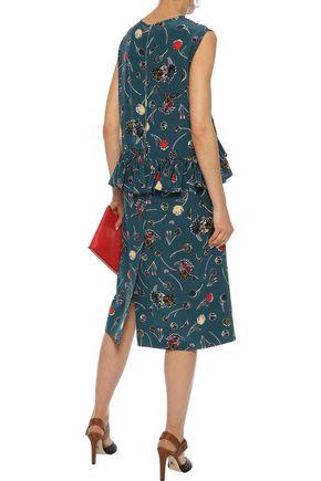 MARNI Ruffled floral-print silk crepe de chine dress