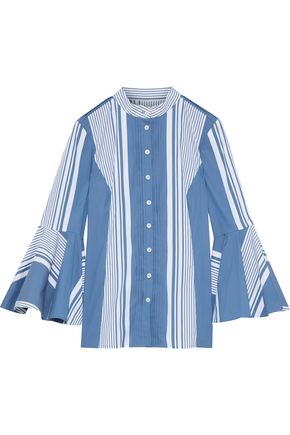 OSCAR DE LA RENTA Fluted striped cotton-blend poplin shirt