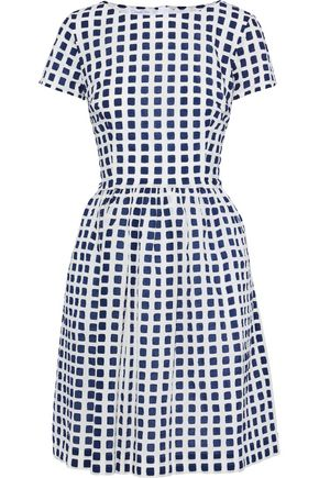 OSCAR DE LA RENTA Flared checked cotton-seersucker mini dress