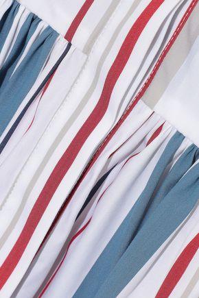 OSCAR DE LA RENTA Striped cotton-blend poplin shirt dress