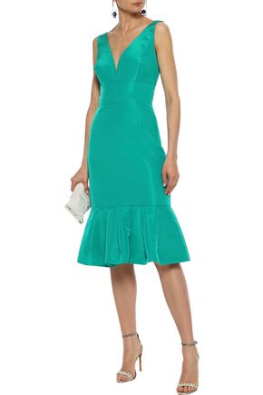 OSCAR DE LA RENTA Fluted cutout silk-faille dress