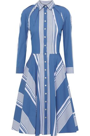 OSCAR DE LA RENTA Striped cotton-blend poplin shirt dress