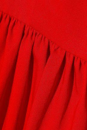 OSCAR DE LA RENTA Gathered stretch-cotton twill dress