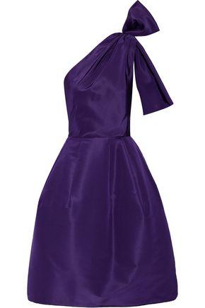 OSCAR DE LA RENTA One-shoulder bow-embellished silk-faille dress