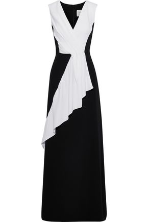 CAROLINA HERRERA Pleated two-tone silk-crepe gown