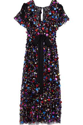 CAROLINA HERRERA Bow-detailed sequined tulle midi dress