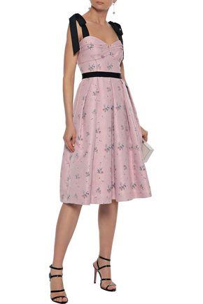 CAROLINA HERRERA Tie-detailed pleated floral-jacquard dress
