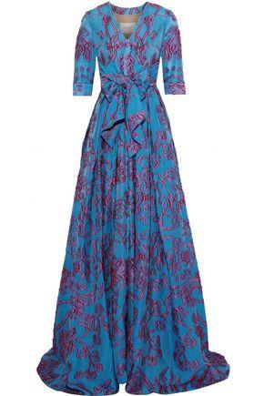 CAROLINA HERRERA Bow-detailed fil coupé organza gown