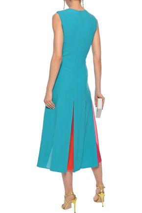 CAROLINA HERRERA Pleated georgette-paneled crepe midi dress