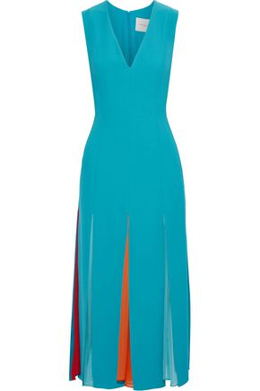 CAROLINA HERRERA Pleated georgette-paneled crepe midi dress