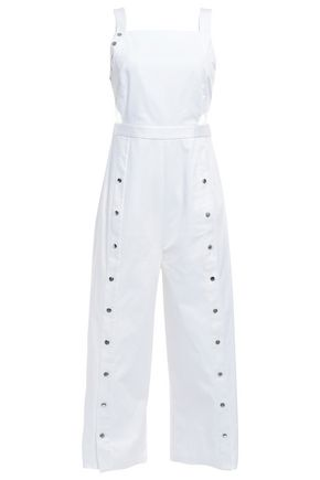 TIBI Crosby snap-detailed cutout stretch-cotton poplin jumpsuit