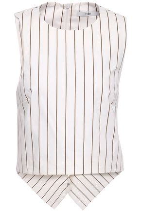TIBI Cutout pinstriped cotton-poplin top