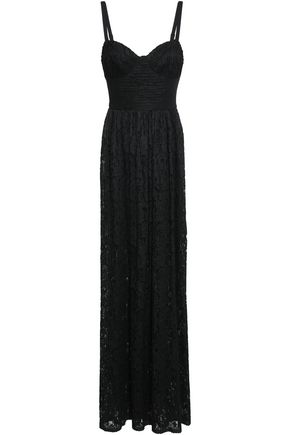 BLACK HALO Pleated lace and cady maxi dress
