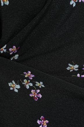 VANESSA BRUNO Gathered floral-print textured-crepe mini dress