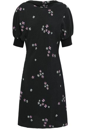 VANESSA BRUNO Gathered floral-print textured-crepe mini dress