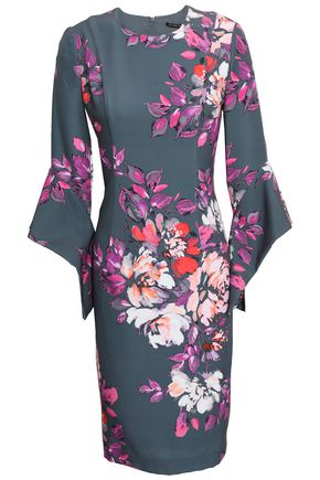 BLACK HALO Fluted floral-print cady dress