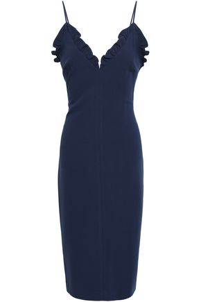 BLACK HALO Ruffle-trimmed cady dress