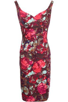 BLACK HALO Floral-print stretch-cotton twill dress