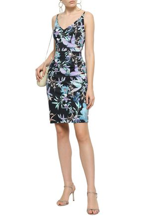 BLACK HALO Floral-print cady dress