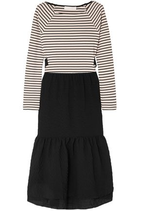 SEE BY CHLOÉ Tie-back striped jersey and seersucker midi dress