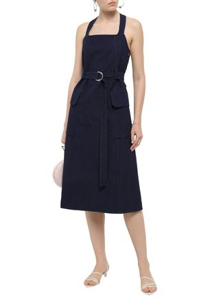 643f7ae502479a ... PRINGLE OF SCOTLAND Belted cotton and linen-blend canvas midi dress ...