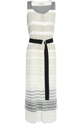 12006f5e3aed52 PRINGLE OF SCOTLAND Belted striped linen and cotton-blend gauze midi dress