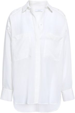 IRO Button-detailed wool-gauze shirt