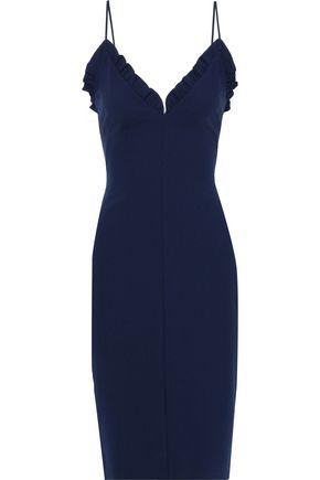 BLACK HALO Ruffle-trimmed crepe dress