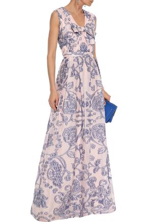 CAROLINA HERRERA Bow-embellished pleated fil coupé voile gown