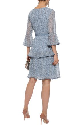 MIKAEL AGHAL Layered faille-trimmed floral-print chiffon dress