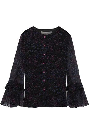 CAROLINA HERRERA Fluted printed silk-georgette blouse