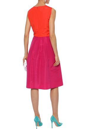 CAROLINA HERRERA Flared embellished two-tone silk-faille dress