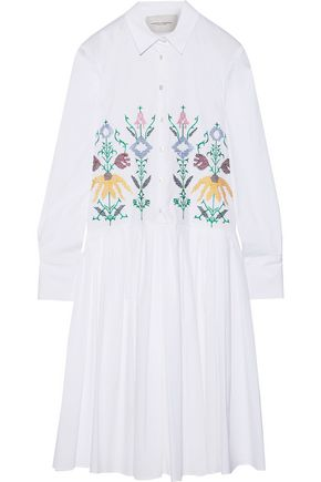 CAROLINA HERRERA Embroidered cotton-blend poplin midi shirt dress