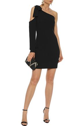 BLACK HALO One-shoulder bow-embellished cady mini dress