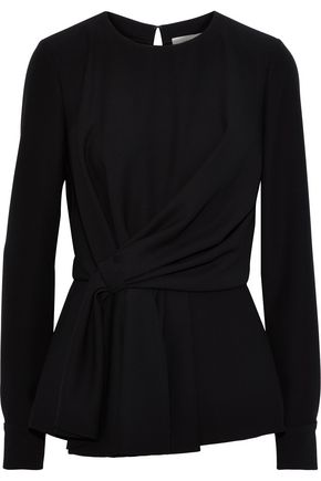 CAROLINA HERRERA Gathered crepe peplum top