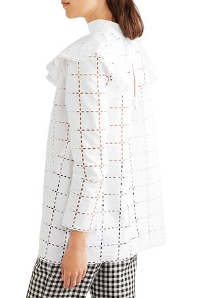 SONIA RYKIEL Ruffled broderie anglaise cotton blouse